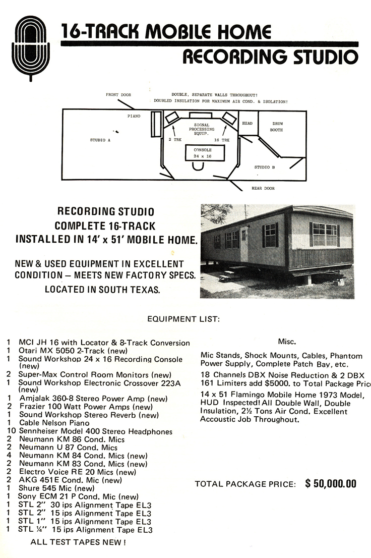 1977 ad for Mobile Home recording studio for sale from Accurate Sound company's catalog in Reel2ReelTexas.com vintage reel tape recorder collection