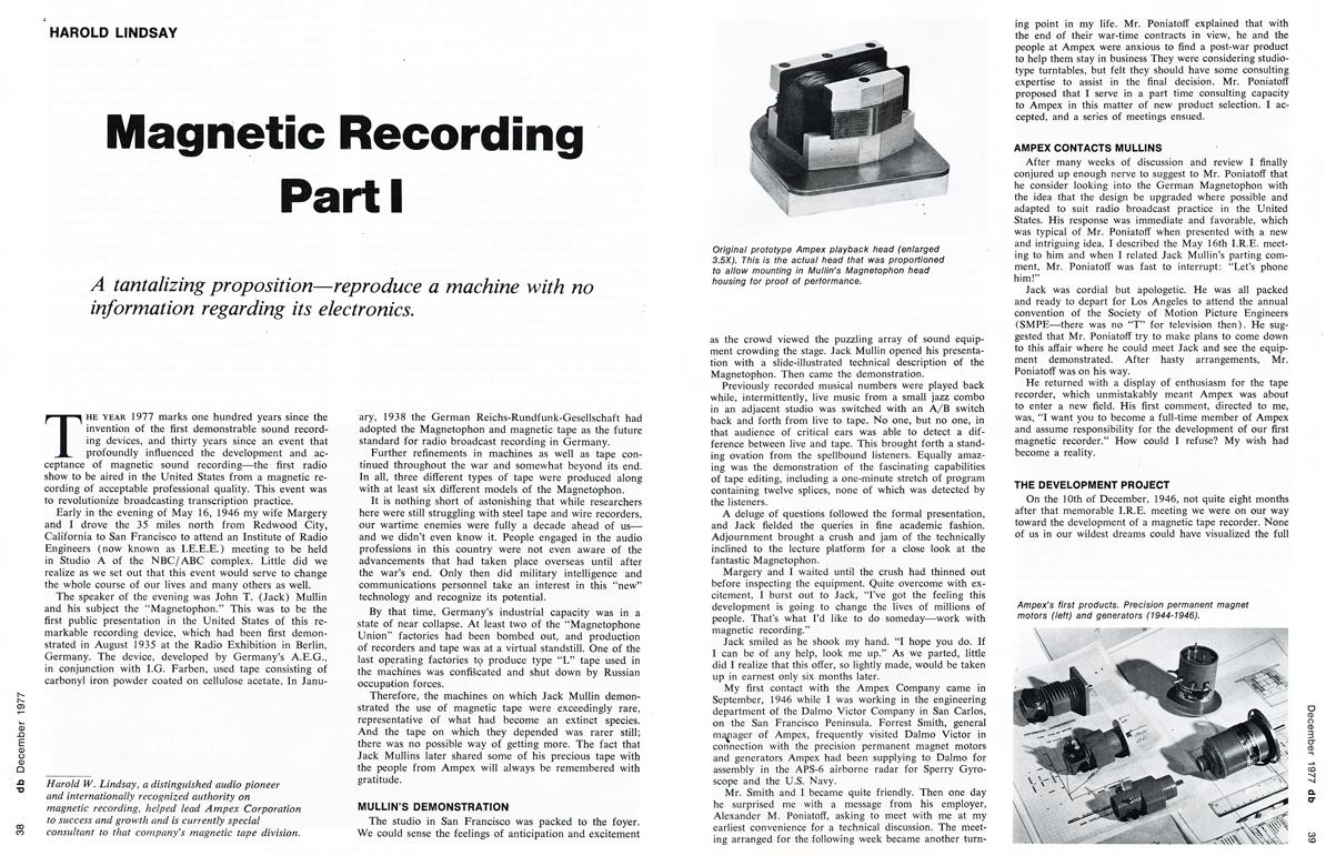 1977 article by Harold Lindsay about the beginnings of Ampex in the December 1977 db magazine  in the Reel2ReelTexas.com vintage reel tape recorder recording collection
