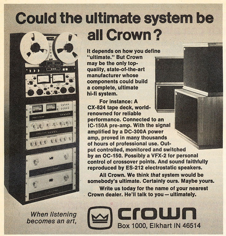 1977 Crown professional reel to reel tape recorder ad in the Reel2ReelTexas.com's vintage recording collection