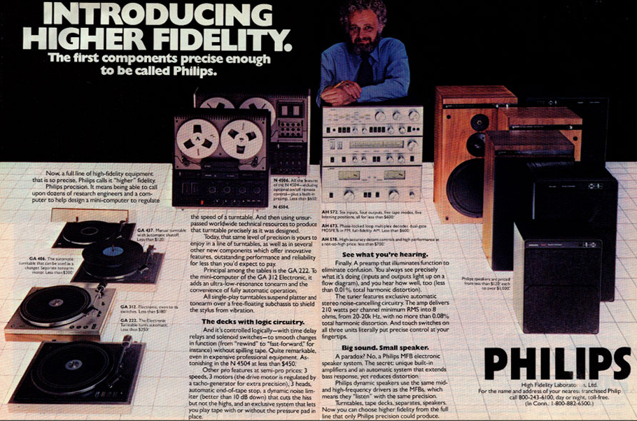 1977 ad for Philips reel to reel tape recorders in the Reel2ReelTexas.com vintage recording collection