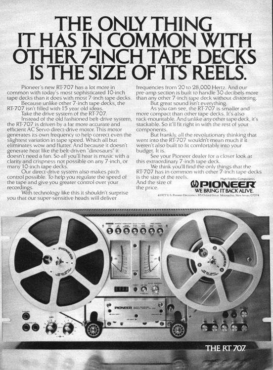 Ad for the Pioneer RT-1011L reel to reel tape recorder in the Reel2ReelTexas.com vintage recording collection