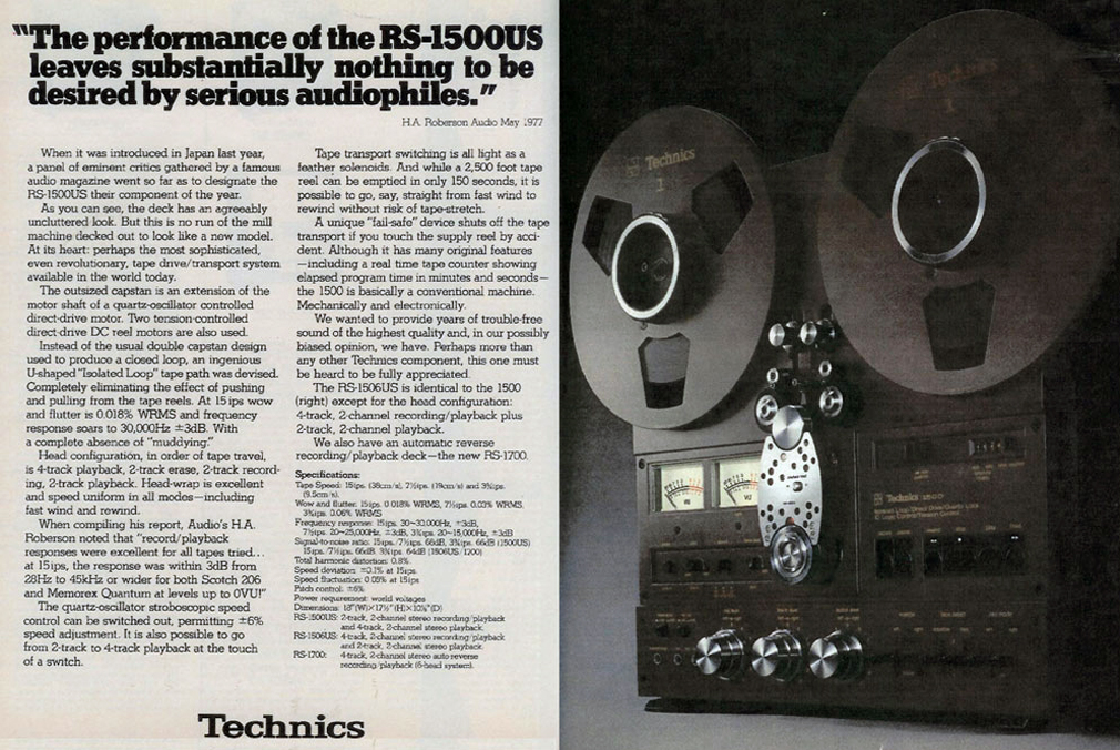 1980 ad for the Technics RS-1700 reel tape recorder in the Reel2ReelTexas.com vintage recording collection