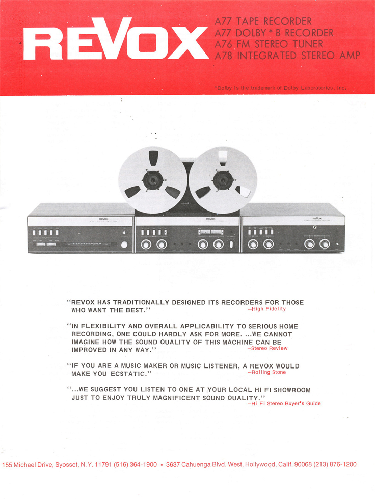 1977 ad for the Revox A-77 MK IV reel to reel tape recorder in the Reel2ReelTexas.com vintage recording collection