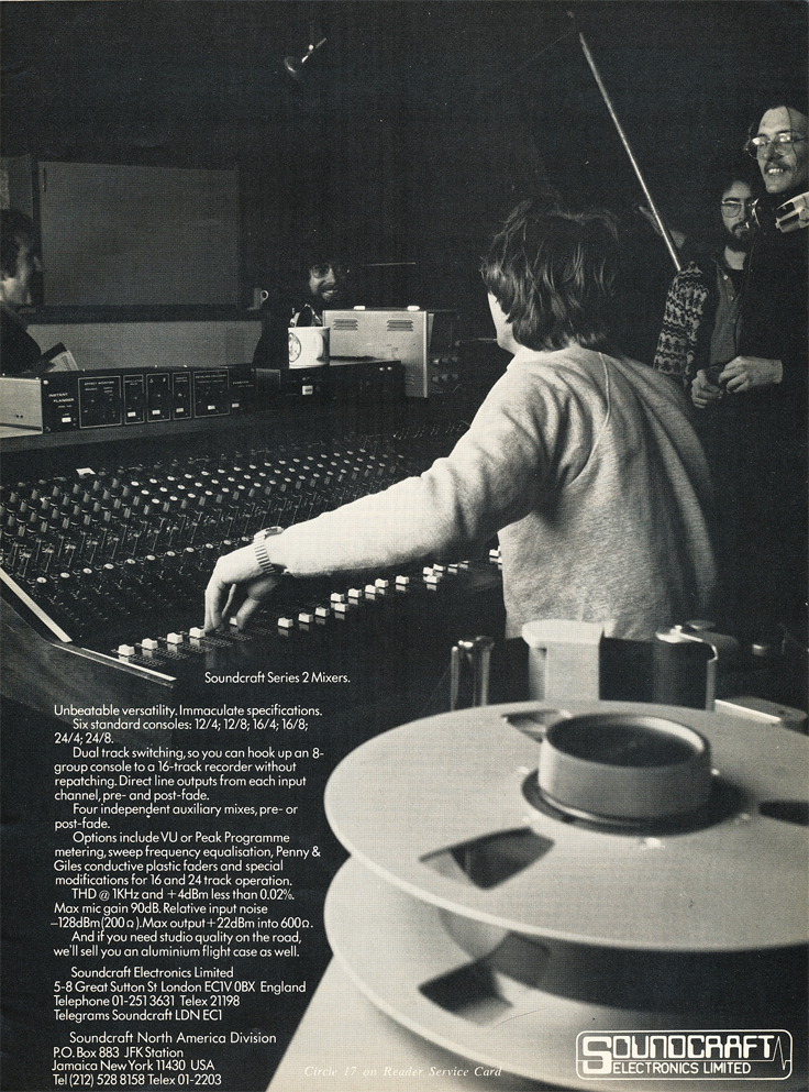 1977 Soundcraft Series 2 mixing console ad in the Reel2ReelTexas.com vintage reel tape recorder recording collection