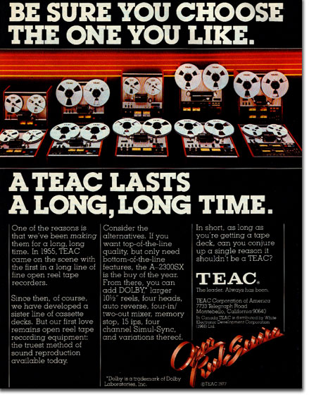 1977 ad for the Teac A-3340 reel tape recorder in the Reel2ReelTexas.com vintage recording collection