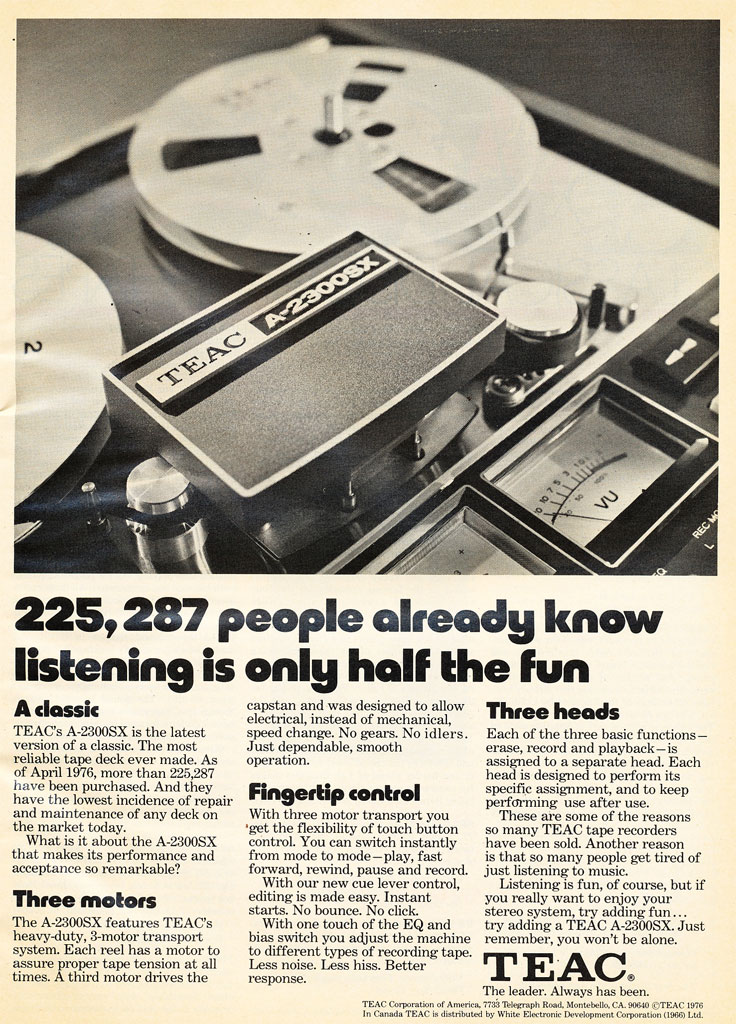 1973 ad for the Teac A-2300 reel to reel tape recorder in the Reel2ReelTexas.com vintage recording collection vintage recording collection