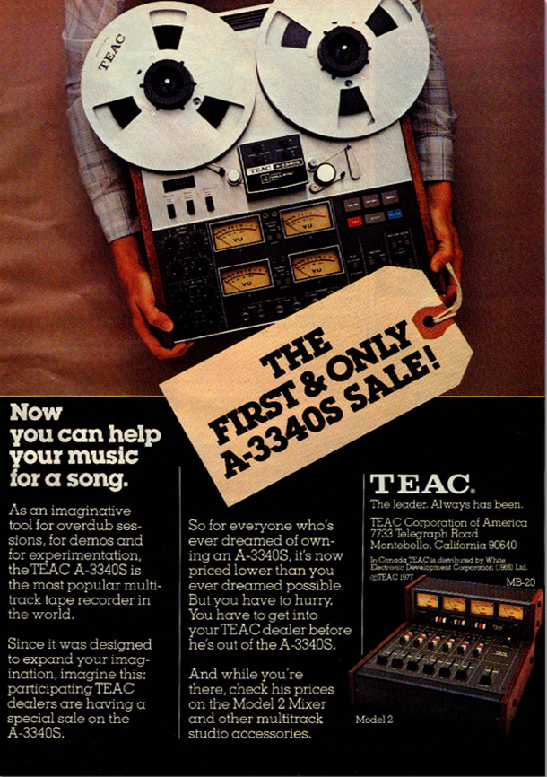 "1977 ad for the ""sale"" of the Teac A-3340 reel to reel tape recorder in the Reel2ReelTexas.com vintage recording collection"