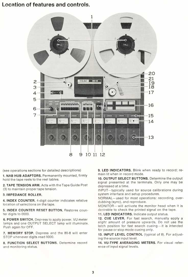 "1977 Teac Tascam Model 80-8 8 track 1/2"" reel tape recorder manual in Reel2ReelTexas.com's vintage reel tape recorder recording collection"