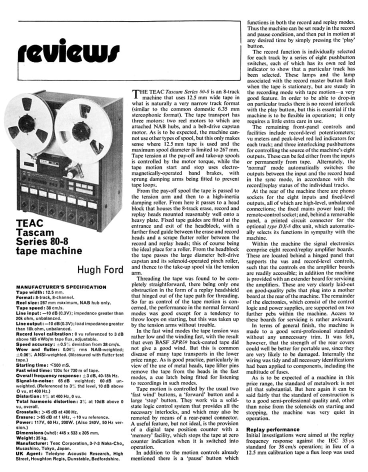 "1977 review of the Teac 80-0 8 track reel to reel 1/2"" tape recorder in Reel2ReelTexas.com's vintage reel tape recorder recording collection"