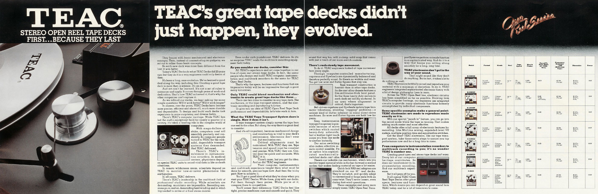 1977 Teac reel tape recorder brochure