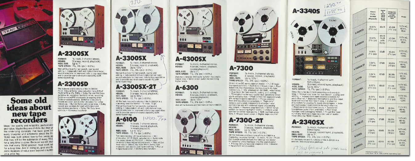 1977 March Teac brochure featuring the A-2300SX, A-2300SD, A-3300SX, A3300SX-2T, A-6100, A-7300, A-7300-2T, A-3340S and the A-2340X in the Reel2ReelTexas.com vintage recording collection vintage recording collection