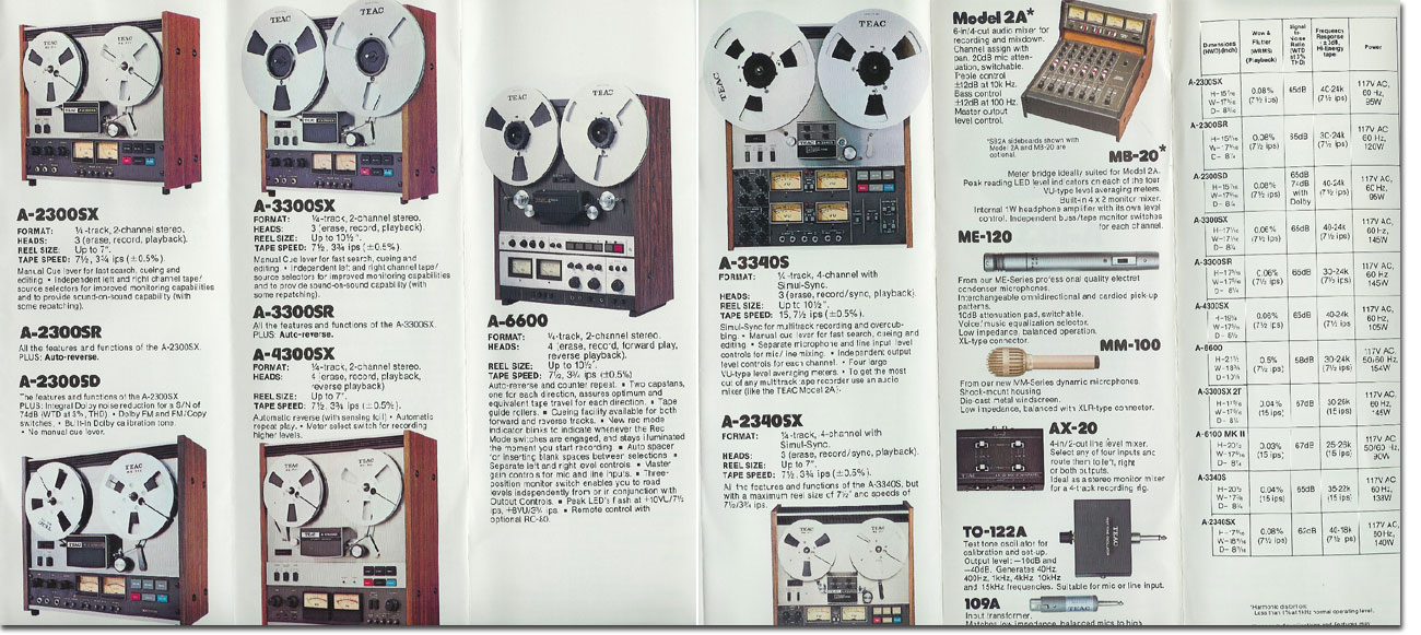 1977 October Teac brochure featuring the A-2300SX, A-2300SR, A-2300SD, A-3300SX, A3300SX-2T, A-3300R, A-6600, A-3340S and the A-2340X, plus the Model 2 mixer, the MB20 meter panel and Teac accessories in the Reel2ReelTexas.com vintage recording collection vintage recording collection