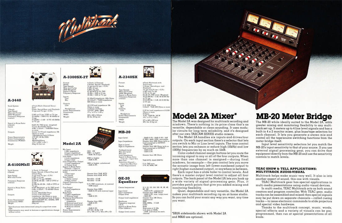 1977 Teac MultiTrack brochure featuring the Teac A-3440, Teac A-2340SX, Teac A-6100Mk II, Teac A-3300SX-2T professionall reel to reel tape recorders and the Teac GE-20 Equializer and the Teac Model 2A mixer with the Teac MB-20 meter bridge in the Reel2ReelTexas.com vintage recording collection vintage recording collection