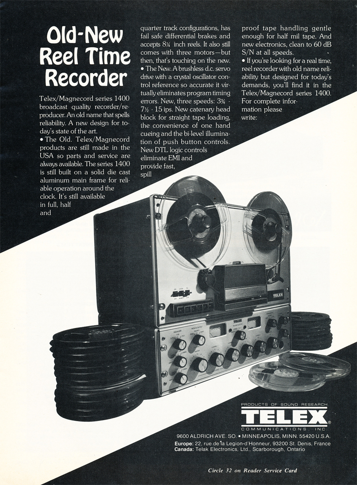 1977 ad for the Magnecord Telex Series 1400 professional reel to reel tape recorder in the Reel2ReelTexas.com MOMSR vintage recording collection