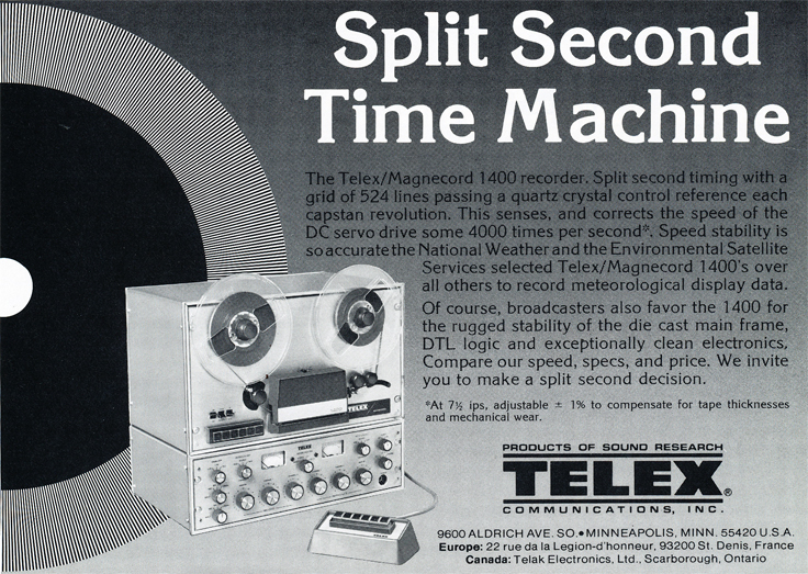 1977 ad for Telex 1400  reel to reel tape recorders in the Reel2ReelTexas.com vintage recording collection