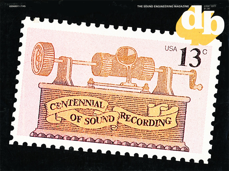 June 1977 cover of the db magazine featuring the USPO Centennial of Sound Recording stamp in the Reel2ReelTexas.com vintage recording collection