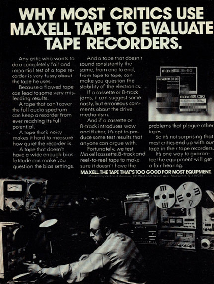 1977 ad for Maxell reel to reel tape recorder tape in the Reel2ReelTexas.com vintage recording collection