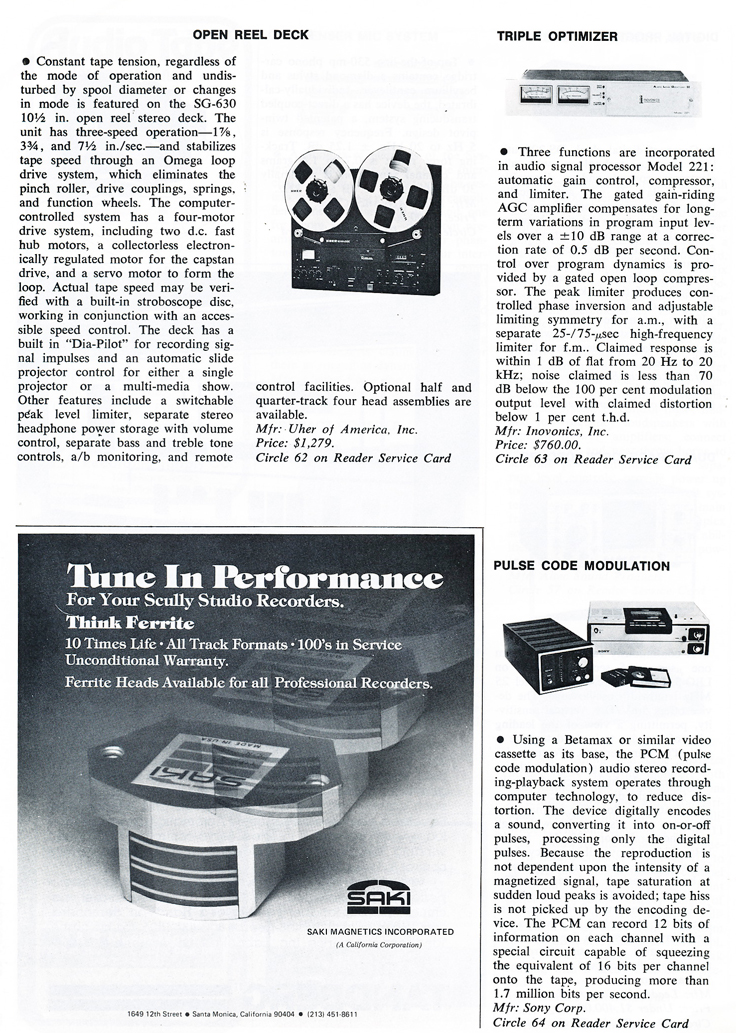 1978 ad for new products including the Uher  SG 630 professional reel tape recorder in the Reel2ReelTexas.com vintage recording collection