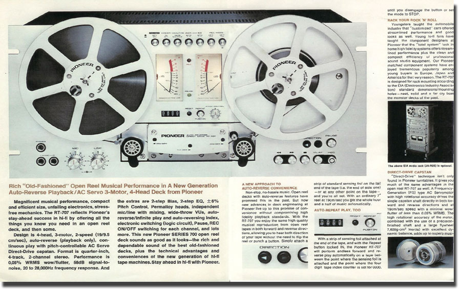 1976 Pioneer RT-707 reel tape recorder in the Reel2ReelTexas.com vintage recording collection