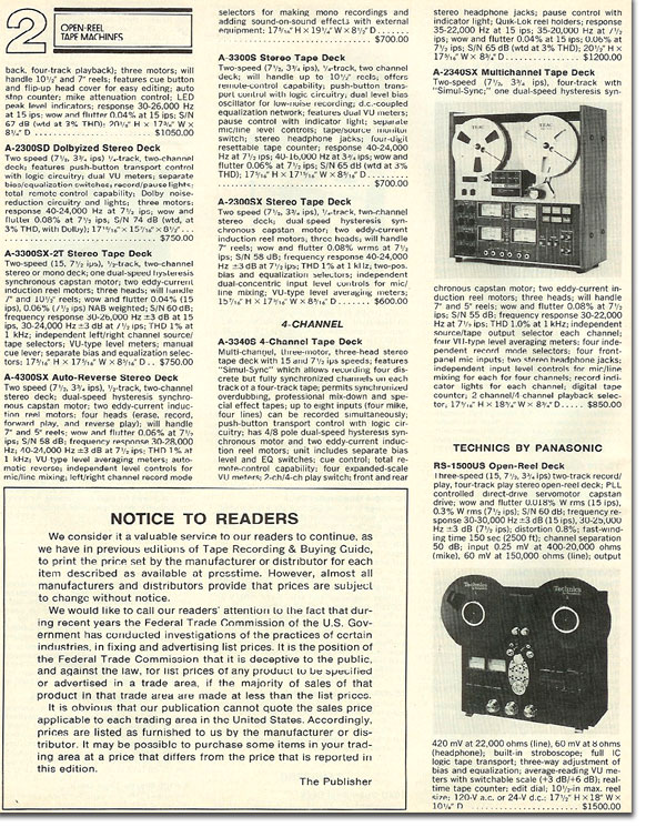 1978 listing for the Teac A-2340 reel to reel tape recorder in the Reel2ReelTexas.com vintage recording collection