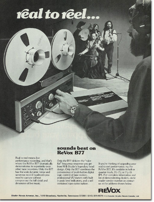 1981 ad for the Revox B77 reel to reel tape recorder in the Reel2ReelTexas.com vintage recording collection