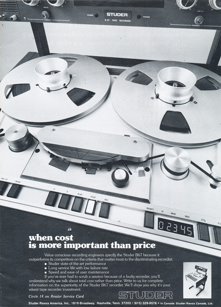 1978 ad for the Studer B67  reel to reel tape recorder from Willi Studer in the Reel2ReelTexas.com vintage recording collection