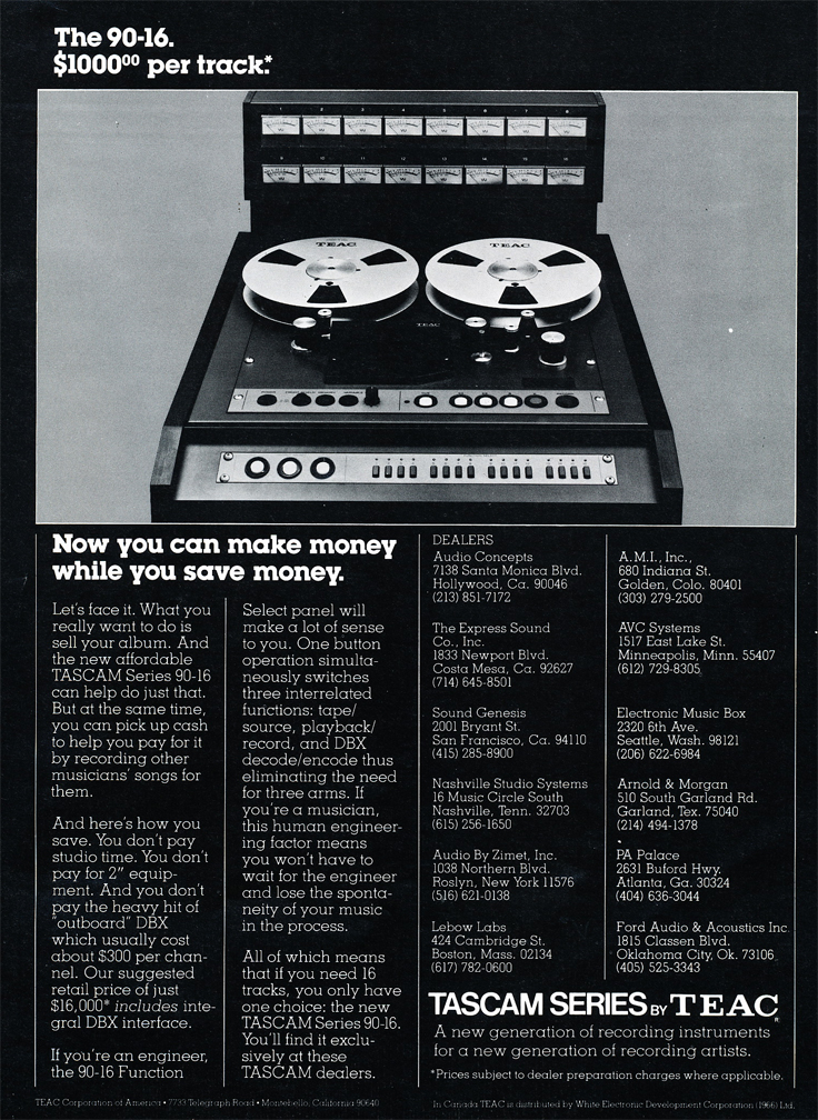 1978 ad for the Tascam 90-16 professional 16 track  reel to reel tape recorder in the Reel2ReelTexas.com vintage recording collection' vintage recording collection