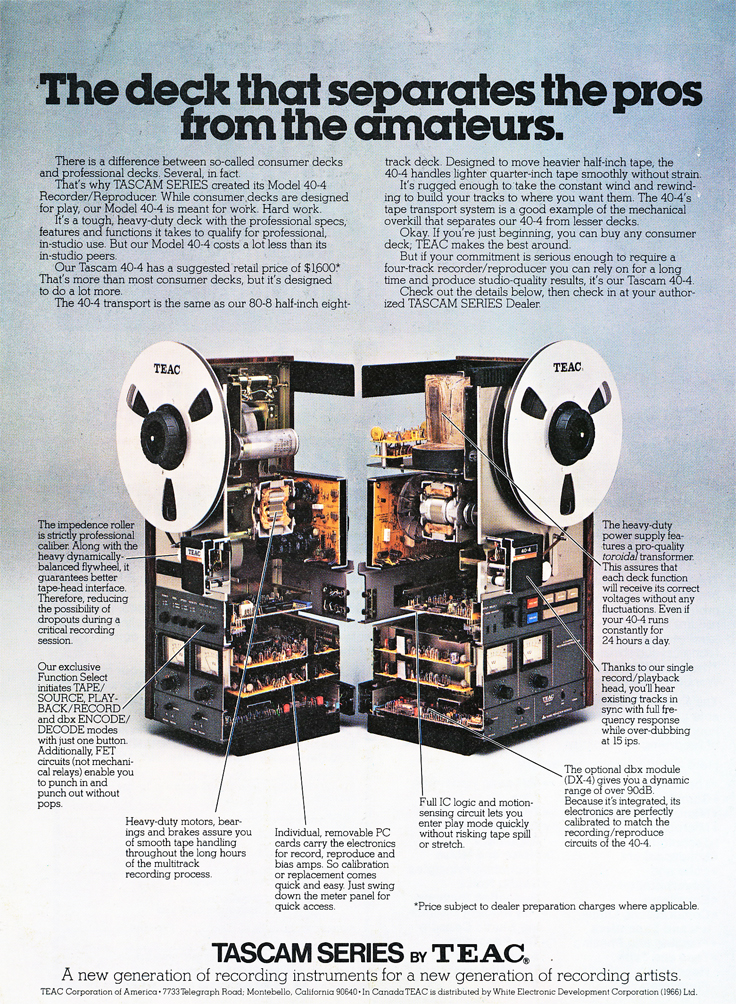 1978 ad for the Teac 40-4 shown the reel tape recorder sawed in two in the Reel2ReelTexas.com vintage recording collection