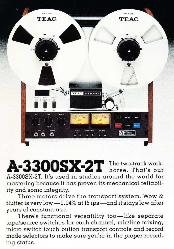 1975 ad for th Teac A-3300SX-2T track professional reel to reel tape recorder ad  in the Reel2ReelTexas.com vintage reel tape recorder recording collection Museum