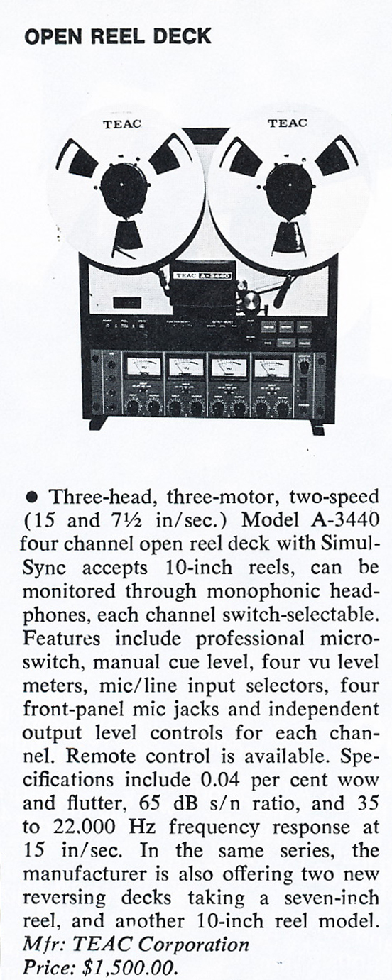 1978 review of the Teac A-3440  reel to reel tape recorder in the Reel2ReelTexas.com vintage recording collection' vintage recording collection