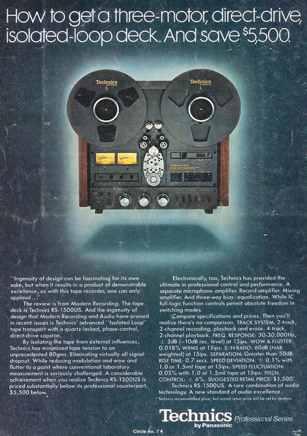 1978 ad for the Technics RS-1500 reel to reel tape recorder in the Reel2ReelTexas.com vintage recording collection