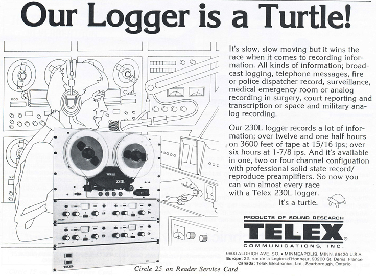 1979 ad for Telex 230L in the Reel2ReelTexas.com vintage recording collection