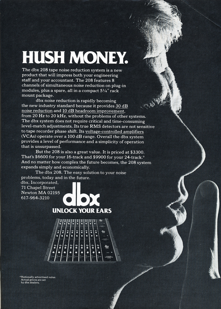 1978 ad for dbx noise reduction products in the Reel2ReelTexas.com vintage recording collection