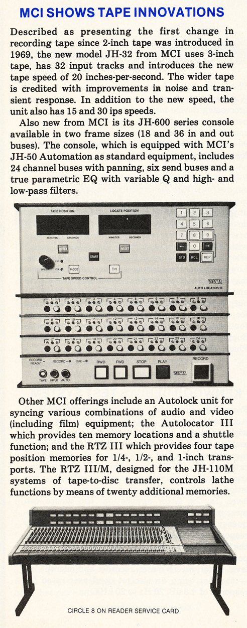 1979 ad for the MCI professional reel to reel tape recorders in the Reel2ReelTexas.com vintage recording collection