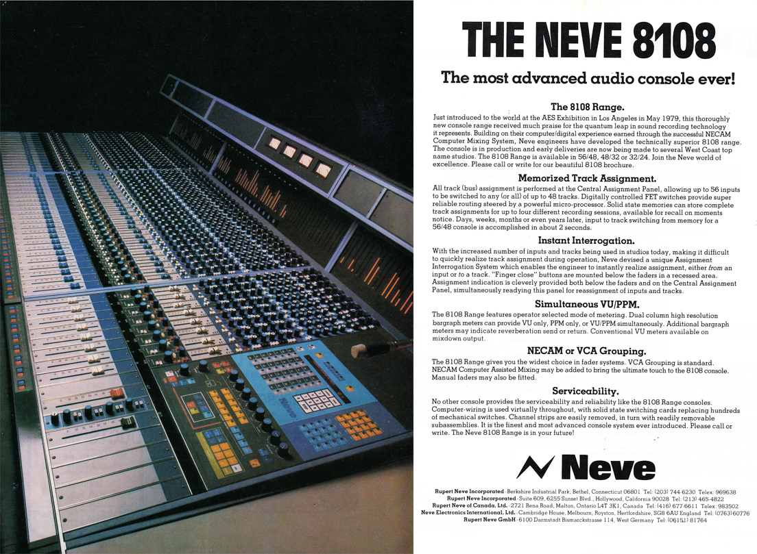 1979 ad for the Neve 8108 professional recording mixing console in the Reel2ReelTexas.com vintage recording collection