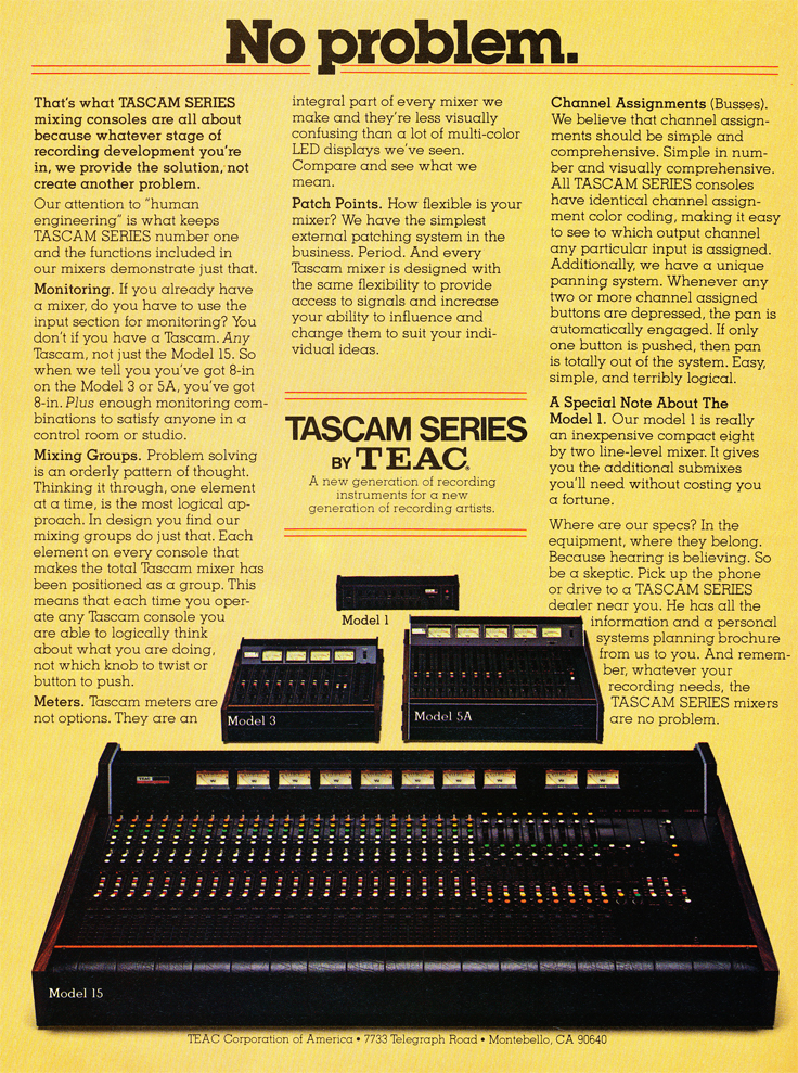 1979 Tascam mixer ad in the Reel2ReelTexas.com vintage recording collection' vintage tape recording collection