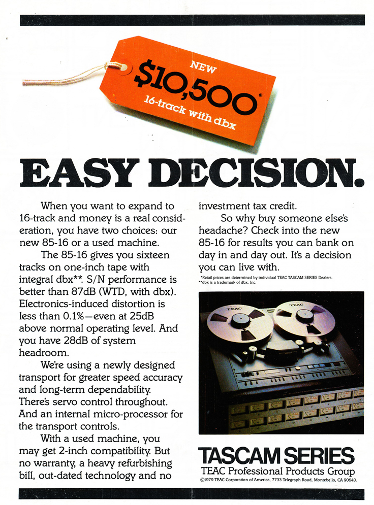 1979 ad for the Teac Teac Tascam 85-16 16 track 1 inch professional reel to reel tape recorder in the Reel2ReelTexas.com vintage recording collection