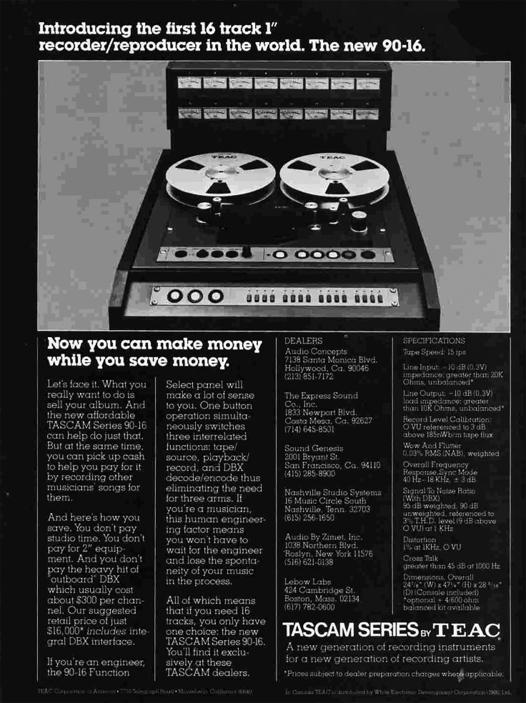 "1979 ad for the Teac Tascam 90-16 16 track 1"" professional reel to reel tape recorder in the Reel2ReelTexas.com vintage recording collection"