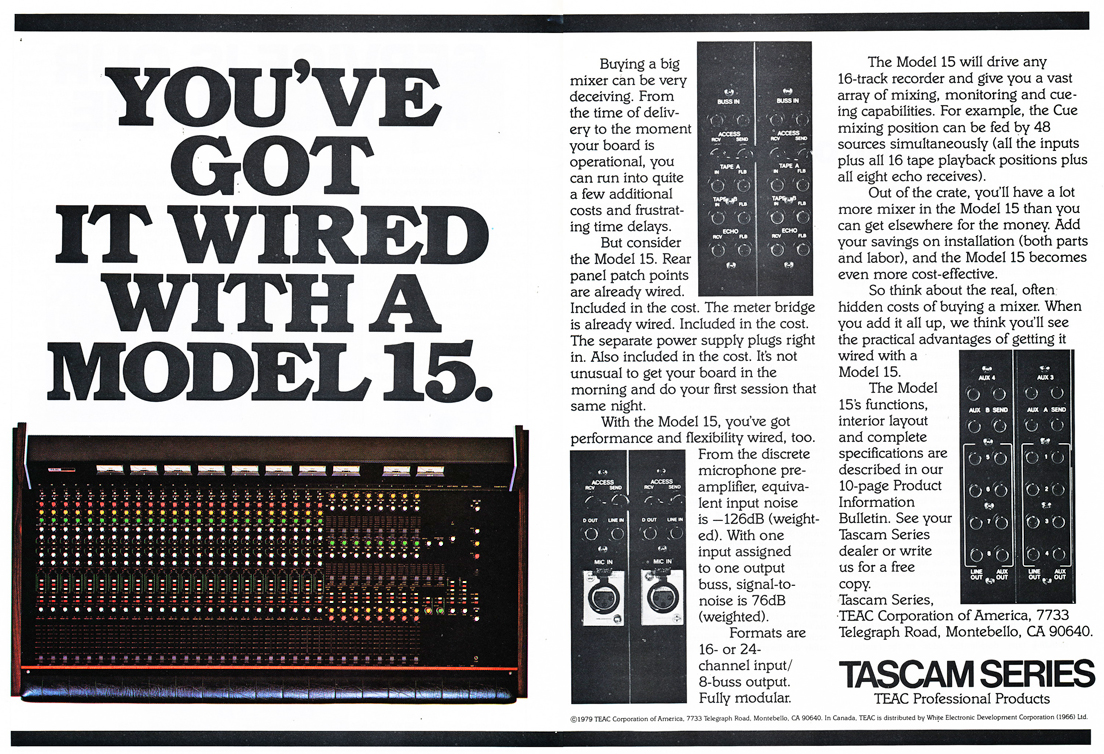 1979 ad for the Tascam Model 15 mixer in the Reel2ReelTexas.com vintage recording collection' vintage tape recording collection