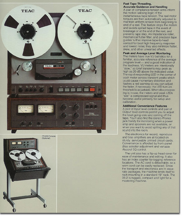 Teac 35-2 two track mastering reel to reel tape recorder adin the Reel2ReelTexas.com vintage reel tape recorder recording collection