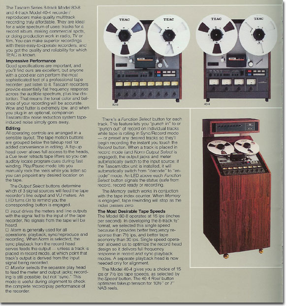 pictures of the Teac 80-8 and 40-4 from the 1979 Teac Tascam brochure  in the Reel2ReelTexas.com vintage recording collection