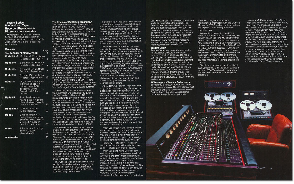 pictures from the 1979 Teac Tascam brochure in the Reel2ReelTexas.com vintage recording collection