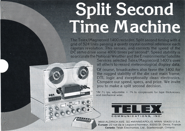 1979 ad for the Magnecord Telex Series 1400c professional reel to reel tape recorder in the Reel2ReelTexas.com MOMSR vintage recording collection
