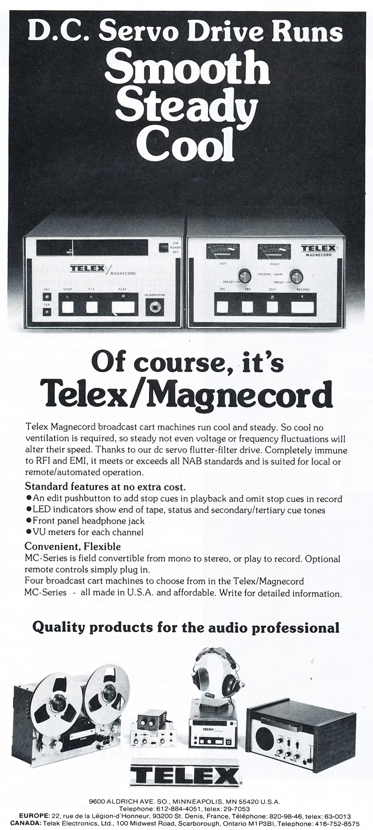 1979 ad for the Magnecord Telex broadcast cart recorder in the Reel2ReelTexas.com MOMSR vintage recording collection