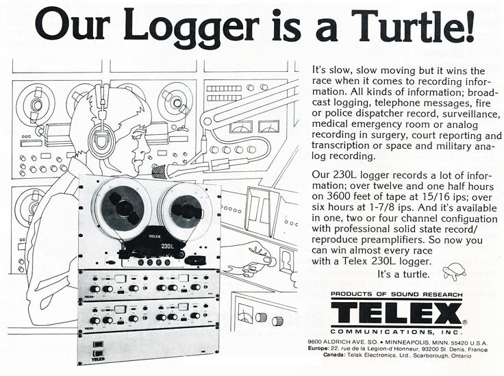 1979 ad for the Magnecord Telex 230L reel to reel logger recorder in the Reel2ReelTexas.com MOMSR vintage recording collection