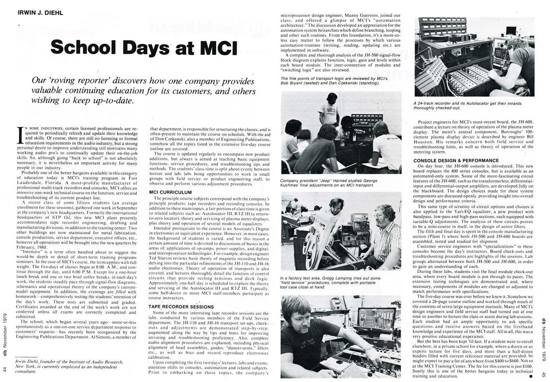 1979 writeup about MCI in the db magazine in the Reel2ReelTexas.com vintage reel tape recorder recording collection