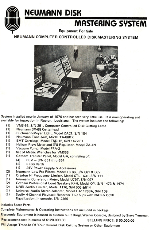 1977 ad for Neumann Disk Mastering System  for sale from Accurate Sound company's catalog in Reel2ReelTexas.com vintage reel tape recorder collection