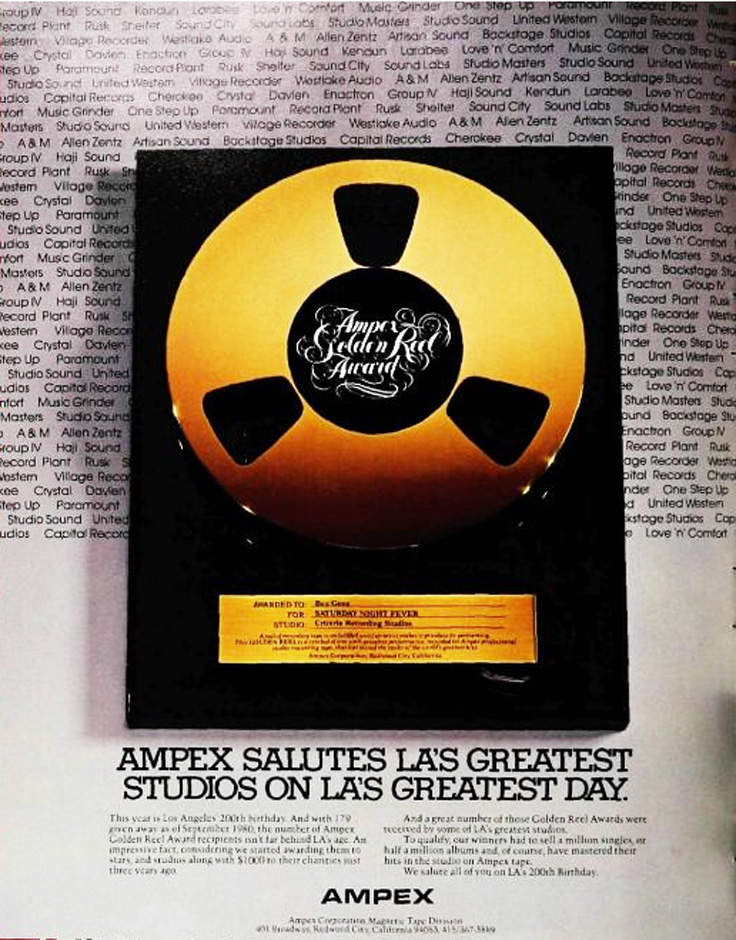 1980 ad for the Ampex Gold Reel award in the Reel2ReelTexas.com vintage recording collection