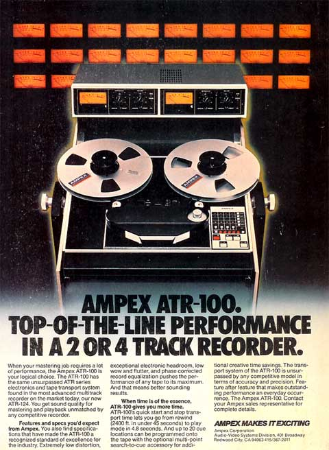 1980 ad for the Ampex ATR-100 reel to reel tape recorder in the Reel2ReelTexas.com vintage recording collection