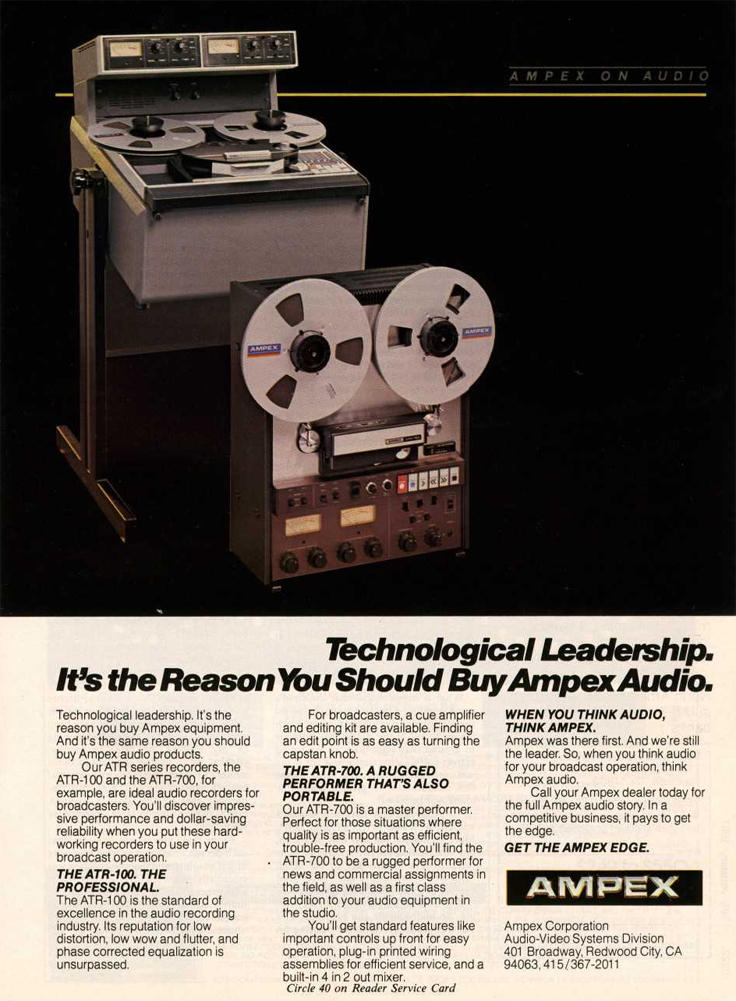 1966 ad for the Ampex ATR-700 professional reel to reel tape recorder in the Reel2ReelTexas.com vintage reel tape recorder recording collection
